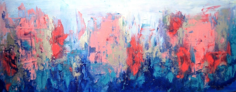 Pink Abstract Canvas Art: Blue Pink Abstract Painting By Jessica Seroka. Paintings
