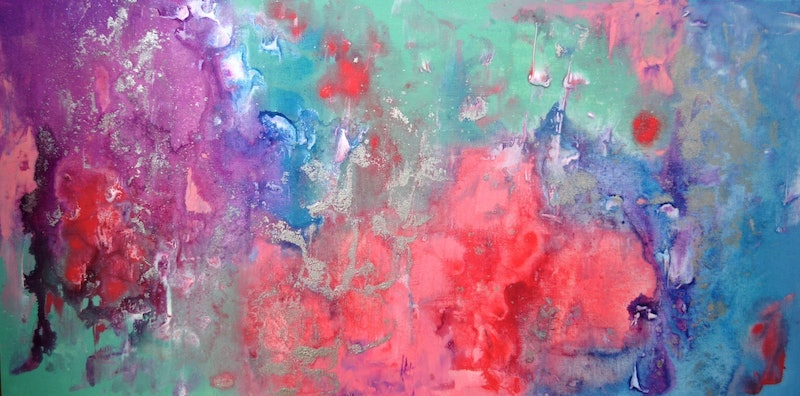 Abstract Painting Red White And Blue