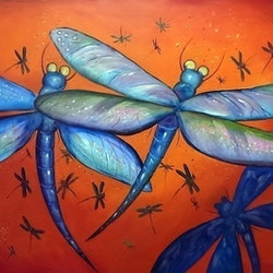 Dragonflies ron brown bluethumb art