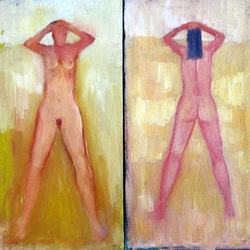 Sunlit nude set of 2 paintings john graham bluethumb art