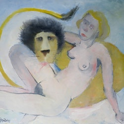 Woman and lion john graham bluethumb art