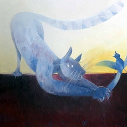 Cat and bird john graham bluethumb art