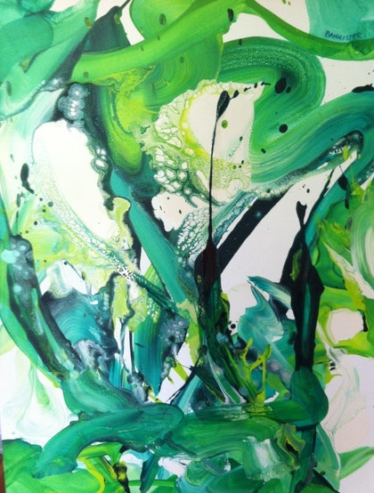 Lime green' dark green & white abstract