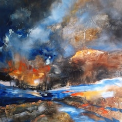 Fire on the river sue bannister bluethumb art