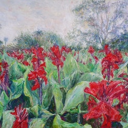 Red gladioli field artem bryl bluethumb art