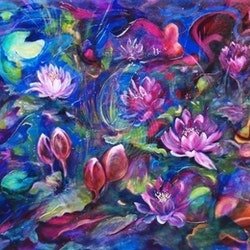 Waterlillies cathy gilday bluethumb art
