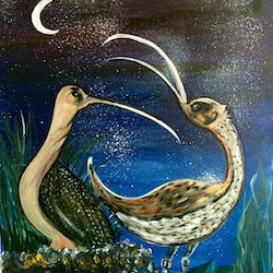Night caller ready to hang curlews 60x75x3 5 louise croese bluethumb art