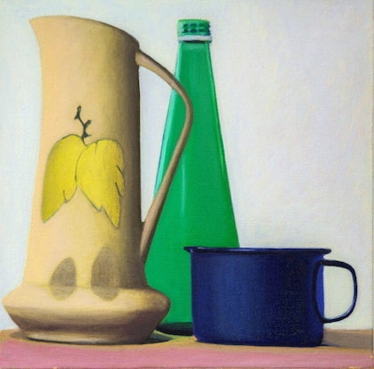 Still life - Yellow Vase & Blue Cup