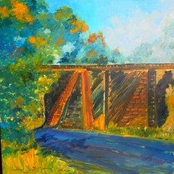 The historic railway bridge kilmore east vic margaret morgan watkins bluethumb art