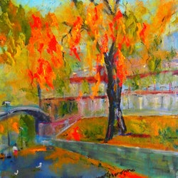 Taking a stroll by the yarra river in autumn melbourne vic margaret morgan watkins bluethumb art