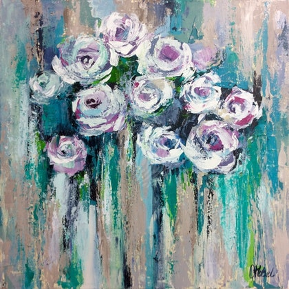 White Roses Palette Knife Painting