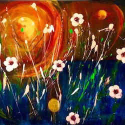 Le provocateur abstract wild about wildflowers series orange gold 60x75x1 5 louise croese bluethumb art
