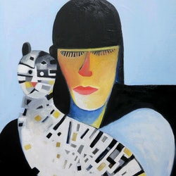 Girl with cat john graham bluethumb art
