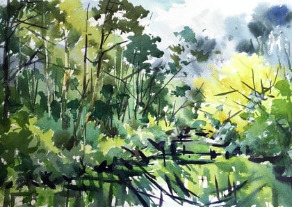 "Original Watercolor painting ""Pond(No2)"""
