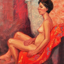 Female nude on red roz mcquillan bluethumb art