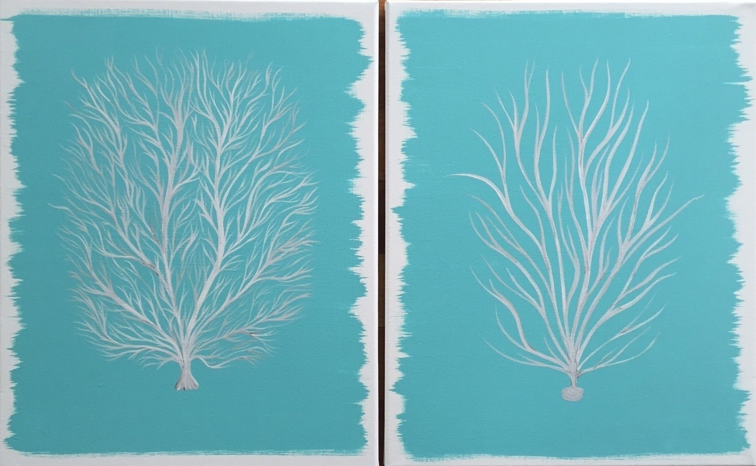 Painting Canvas Original Modern Abstract Canvas Art Painting Coral Pair