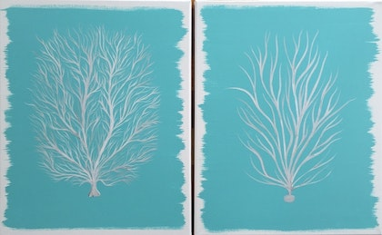 """ORIGINAL MODERN ABSTRACT CANVAS ART PAINTING """"CORAL PAIR"""" TURQUOISE WHITE SILVER"""