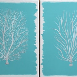 Original modern abstract canvas art painting coral pair turquoise white silver debra ryan bluethumb art