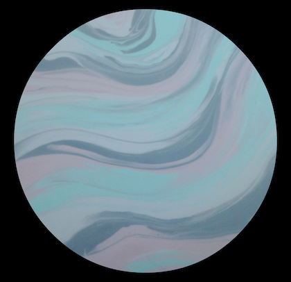 "MODERN ABSTRACT ORIGINAL ROUND CIRCLE RESIN PAINTING ""SORBET"" PINK, GREY, MINT GREEN,  WHITE"