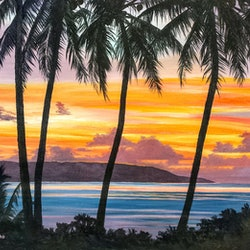 Sunset over north west point christmas island m a hobbs bluethumb art