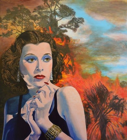 Inferno II - Hollywood Noir Hedy Lamarr bushfire original painting landscape on canvas