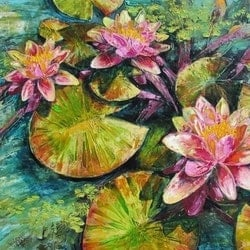 Waterlily depths de gillett bluethumb art