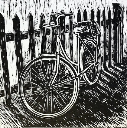 Bike against a fence