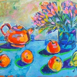 Still life with proteas katerina apale bluethumb art