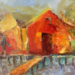 Red boat shed robert abrahams bluethumb art