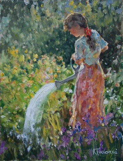 Watering the Irises
