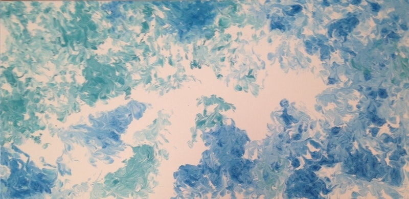 "ORIGINAL ABSTRACT ART PAINTING ON STRETCHED CANVAS  ""POSY"" TURQUOISE BLUE WHITE"