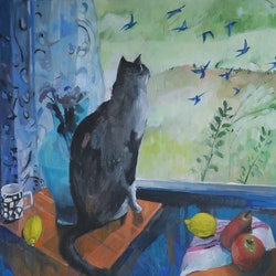 Cat looking out susan trudinger bluethumb art