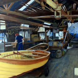 Blunt s boat shed interior williamstown john barcham bluethumb art