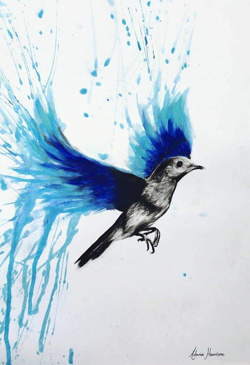 flying with blue bird by ashvin harrison paintings for