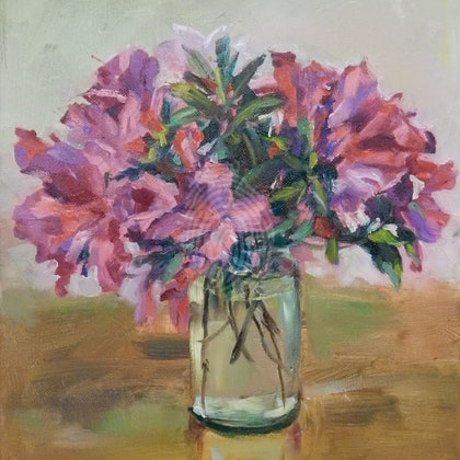 Azalea in a glass jar