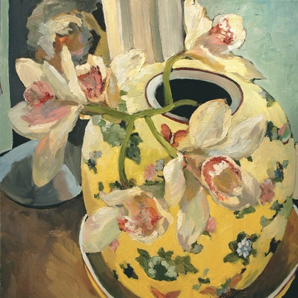 Orchids in Yellow Bowl