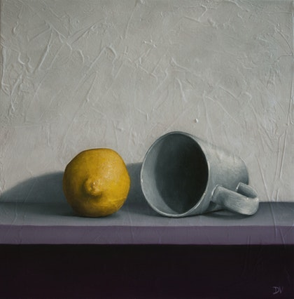 Still life with lemon and tea cup