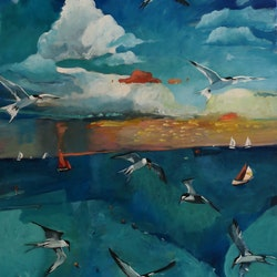 Sea birds in flight susan trudinger bluethumb art