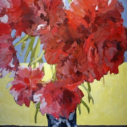 Red tulips double late ll in a chinese vase ray saunderson bluethumb art