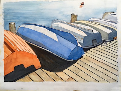 Dinghies on the jetty