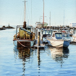 Working boats at the creek in queenscliff francis mcmahon bluethumb art