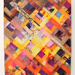 Log cabin in gold and fucsia keren rubinstein bluethumb art