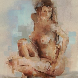 Untitled woman crouching dylan shearsby bluethumb art