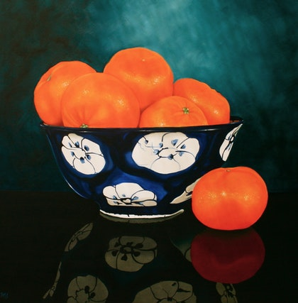 Blue and White and Orange