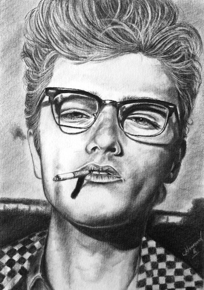 James Dean Look in his eye A3 Charcoals