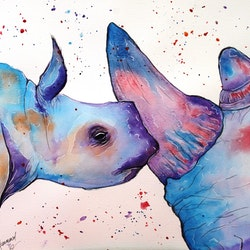Rhino kisses a3 watercolours linda hammond bluethumb art