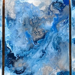 Original abstract art painting on stretched canvas blues triptych blue white silver debra ryan bluethumb art