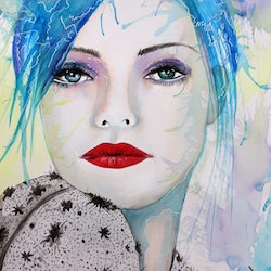 Blue lady a3 watercolours linda hammond bluethumb art