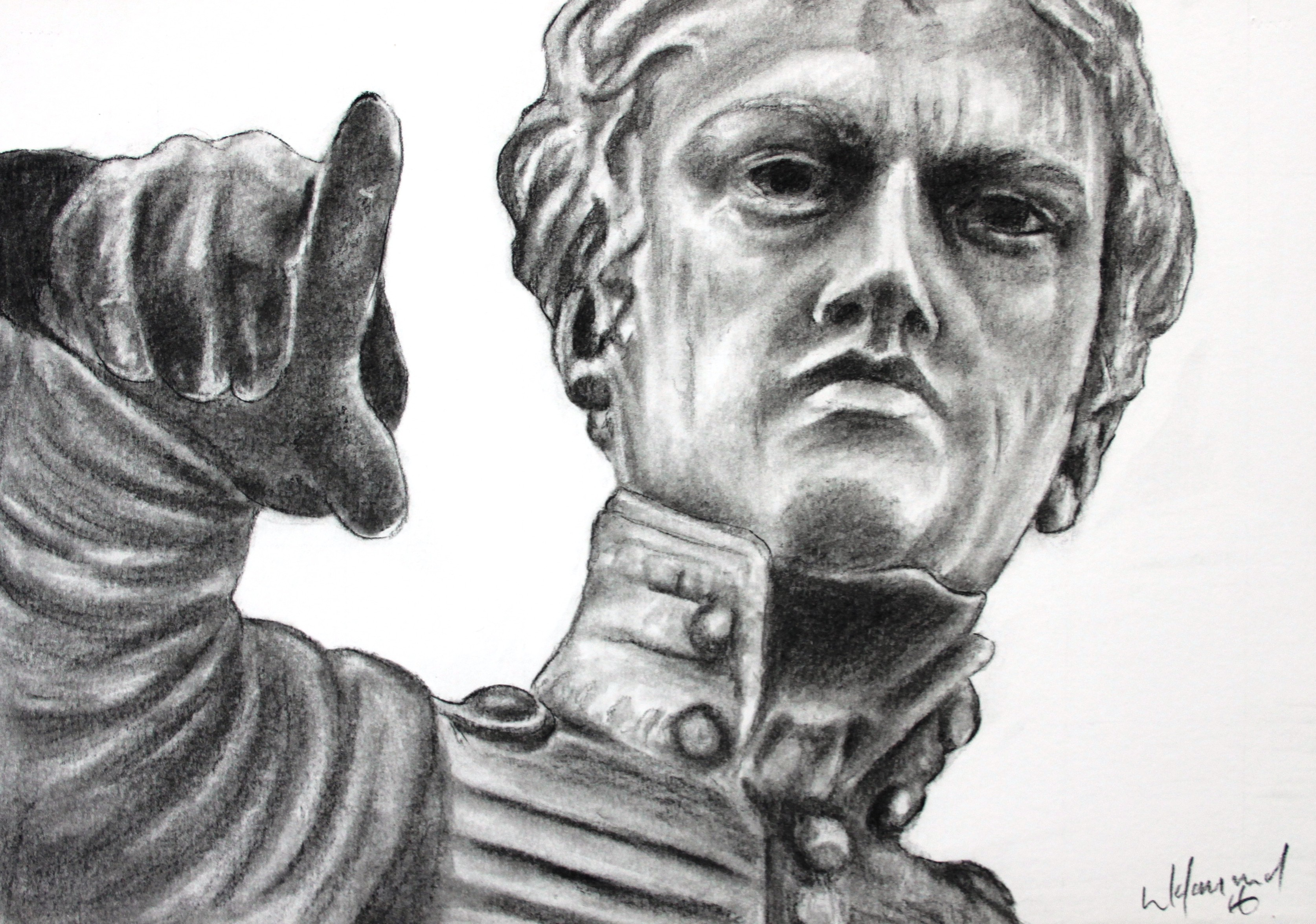 Colonel Light Statue A4 Charcoals