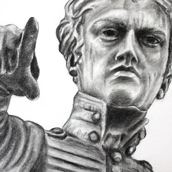 Colonel light statue a4 charcoals linda hammond bluethumb art